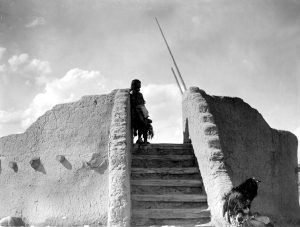 Tewa warrior guarding the pueblo, Edward S. Curtis, 1905.