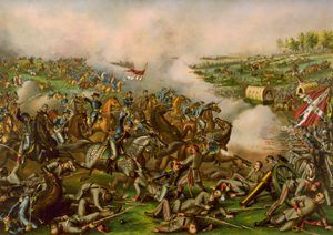 General Philip Sheridan leads the charge at Five Forks Virginia
