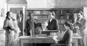 Benjamin Franklin opening first library