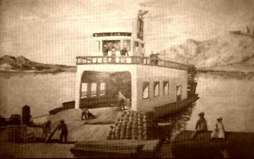 The Bessie Brady steamship, painting by William McKeever is on display at the Independence Museum. Photo courtesy Owens Valley History.