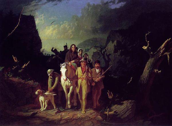 Daniel Boone escorting settlers through the Cumberland Gap by George Bingham