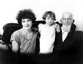 Samuel Dinsmoor with his 20-year old wife and child
