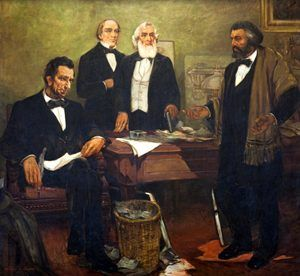 Frederick Douglass appealing to President Lincoln and his cabinet to enlist African-American