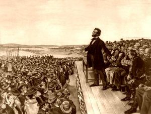 Gettysburg Address on November 19, 1863, Wherwood Lithograph, 1906