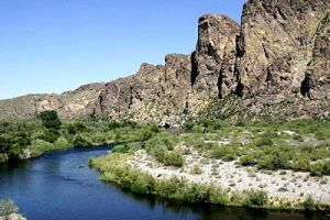 The Gila River northeast of Phoenix, Arizona