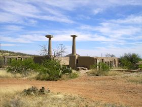 Ruins of school in Gleeson, Arizona
