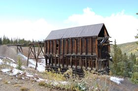 Ibex Mine Ore bin on the Route of the Silver Kings outside Leadville, Colorado, Kathy Weiser