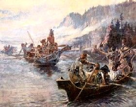 Lewis and Clark on the Columbia River.