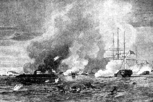 The Monitor and Merrimac, powerful ships of the Civil War, battling it out.