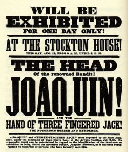 Joaquin Murreita's Head Advertising, 1853