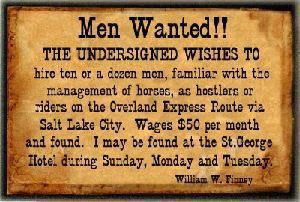 Pony Express Want Ad