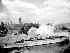"During her service in the war, the Queen Mary was painted a drab grey, hence her nickname, the ""Grey Ghost."""