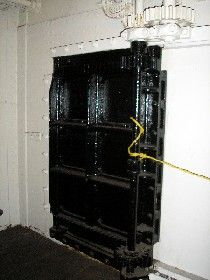 In the area of this heavy door in the Engine Room, we got some very creepy feelings, Kathy Weiser.