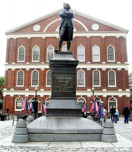 Statue of Samuel Adams in front of Faneuil Hall, Boston, MA