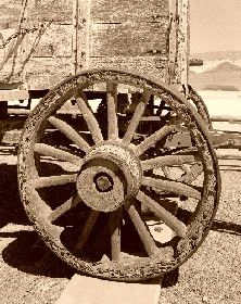 Close-up of wagon wheel, Twenty Mule Borax Wagon in Death Valley, California.