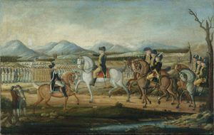 Washington leads troops during the Whiskey Rebellion, by Frederick Kemmelmeyer