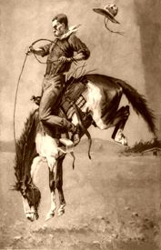 Cowboy on a Bucking Bronco by Frederic Remington