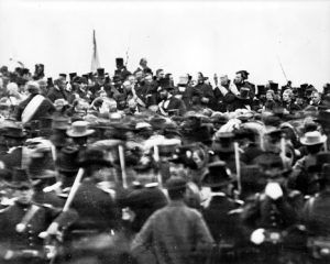 Actual photo of Abraham Lincoln at Gettysburg, November 19, 1863. Lincoln is seen in the center of the platform without his hat.