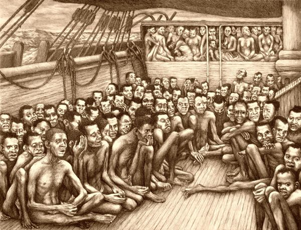 Captured Africans on a slave ship crossing the Atlantic Ocean.