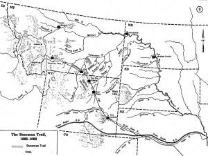 Bozeman Trail map courtesy Wyoming Historical Society