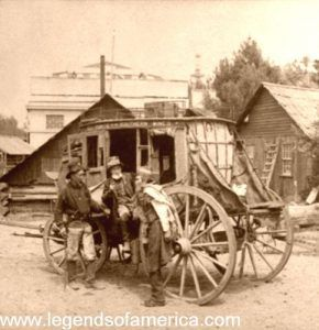 California Miners, in front of stagecoach, 1894