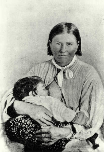 Cynthia Parker, 1861 with infant daughter