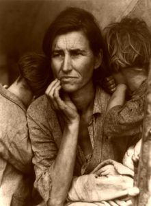 Migrant Mother during the Depression era, by Dorthea Lange.