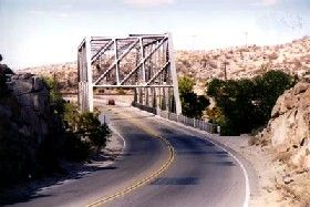 Steel truss bridge before entering Victorville, California