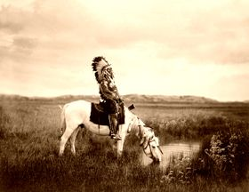 Ogalala Sioux at an oasis in the Badlands, photo by Edward S. Curtis, 1905.