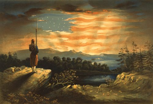 Our heaven born banner painted by Wm. Bauly, 1861