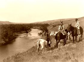 Piegan Indians and horses, by Edward S. Curtis, 1910