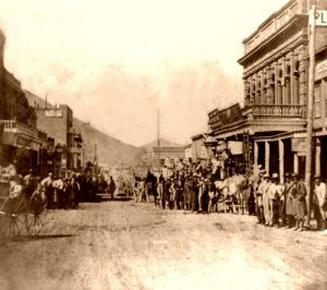 Pioneer Stage leaving Wells-Fargo, Virginia City, Nevada, 1866.