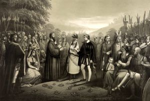 Pocahontas marries John Rolfe,by Joseph Hoover, 1867