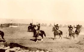 Saber exercises, Fort Custer, Montana