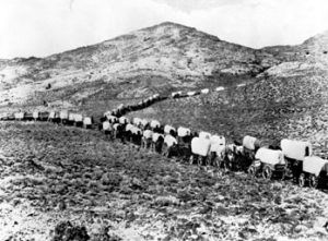Wagon Train on the Santa Fe Trail