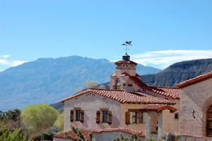 The roof line of Scotty's Castle shows the Spanish Moorish influences, Dave Alexander