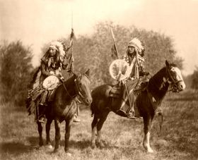 Sioux Indians on horseback,