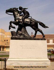 Pony Express Monument, St. Joseph, Missouri by Kathy Weiser