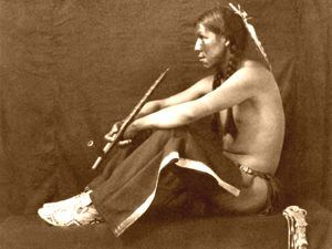 Taos Indian with peace pipe