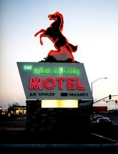 The New Corral Motel in Victorville, California still welcomes Mother Road Travelers today. Photograph by Emily Priddy.