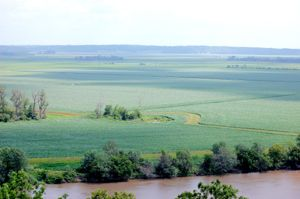 White Cloud, Kansas Overlook, viewing the Missouri River, Missouri and Iowa, by Dave