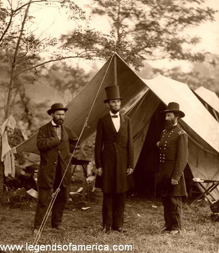 Allan Pinkerton, President Lincoln, and Maj. Gen. John A. McClernand, 1862