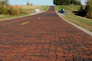 Brick Road Route 66 north of Auburn, Illinois