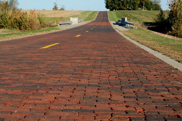Brick Road Route 66 north of Auburn, Illinois