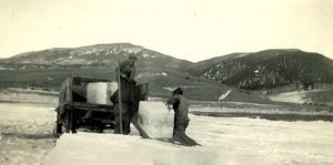 Cutting ice in Eagle Nest, New Mexico
