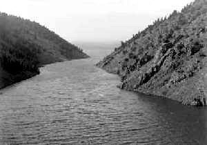 Eagle Nest channel to lake, Jesse L. Nusbaum, 1922