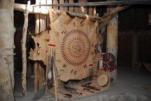 Mandan Hide with symbols. Knife River Indian Village, North Dakota, by Kathy Weiser-Alexander.