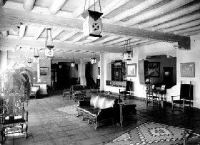 La Fonda Hotel Lobby when it was a Fred Harvey Hotel