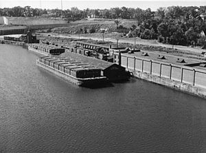 Barges on the Mississippi River, Minneapolis, Minnesota