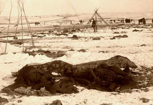 Big Foots camp three weeks after the Wounded Knee Massacre